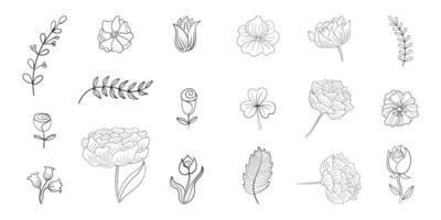 uppsättning enkla blommor linje doodles vektor