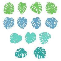 Satz von Monstera tropischen Pflanzen vektor