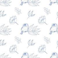 Vintage nahtloses Muster mit Vögeln und Blumen in Blau