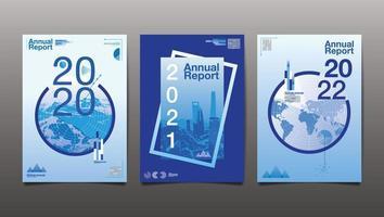 uppsättning där blå årsrapport täcker
