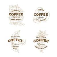 Satz Vintage-Kaffeelogos vektor