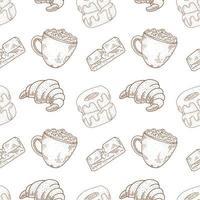 nahtloses Muster für Kaffee und Bäckerei
