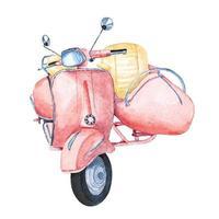 akvarell scooter vintage motorcykel vektor