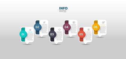 Sechs-Stufen-Business-Infografik