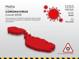 malta påverkad landskarta över coronavirus