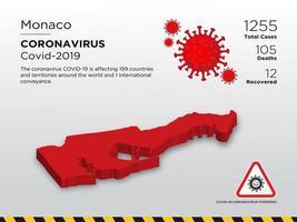 Monaco betroffene Landkarte des Coronavirus vektor