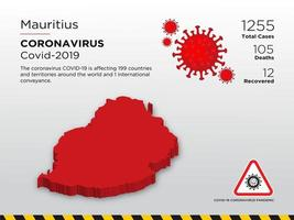 Mauritius betroffene Landkarte des Coronavirus