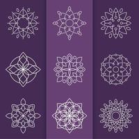 Mono Linie schönes Mandala Set vektor