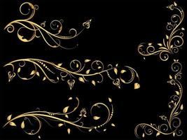 gyllene vintage blommig prydnadsuppsättning vektor