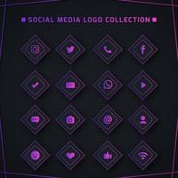 mörk lila social media logotypsamling vektor