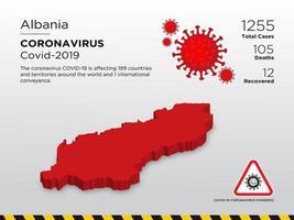 Albanien betroffene Landkarte der Verbreitung von Coronaviren
