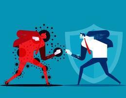 Mann kämpft gegen Covid-19-Charakter
