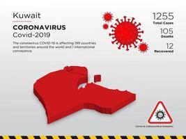 kuwait berörda landskarta över coronavirus