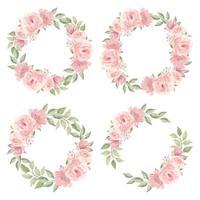 akvarell rosa ros blomma krans samling