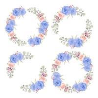 akvarell blå och rosa ros cirkel gränser