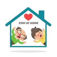 ältere Menschen, die zu Hause im Cartoon-Stil bleiben vektor