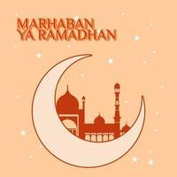 Marhaban Yaa Ramadan Poster mit Mond und Moschee
