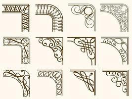 braune Vintage abgerundete Eckrahmen gesetzt vektor