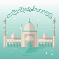 grüner Ramadan Kareem Entwurf mit Moschee bei Nacht