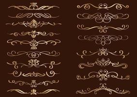 uppsättning dekorativa lockiga guldgränser