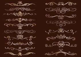 Satz dekorative lockige Goldränder vektor