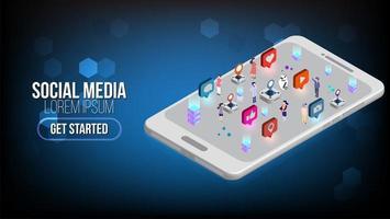 isometrische Zielseite für Social Media Marketing mit Zeichen