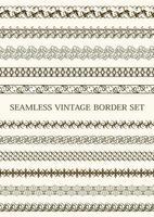 brun sömlös vintage gränsuppsättning vektor