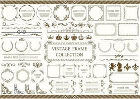 brauner Vintage Rahmen, Rand und Eckenset vektor