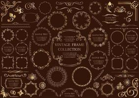 dekorativa gyllene cirkulär ramuppsättning vektor