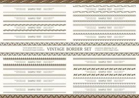 braune nahtlose doppelte Vintage Bordüre gesetzt vektor