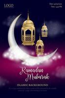 ramadan mubarak glödande natthimmel affisch vektor
