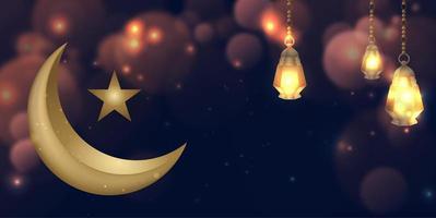 ramadan kareem glödande guldmåne bakgrund vektor