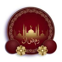 ramadan kareem gyllene moské i röda runda former vektor