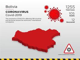 Bolivien betroffene Landkarte des Coronavirus