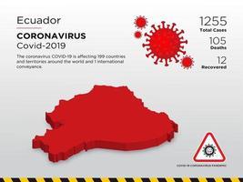 Ecuador betroffene Landkarte des Coronavirus