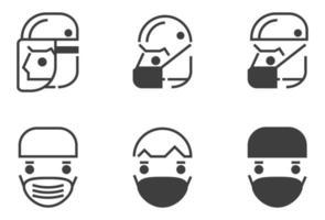 enkel skyddande ansiktsmask Ikonuppsättning