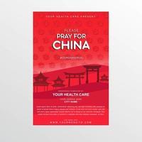 rotes Coronavirus-Plakat mit beten für Porzellantext