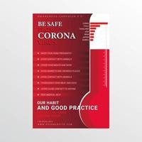 Mit einem Thermometer vor Coronavirus-Postern schützen