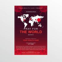 rotes ncov-19 Gebetsplakat mit weißer Weltkarte vektor
