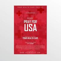 Weltkarte beten für USA Coronavirus Poster vektor