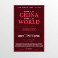 bete für China und Weltplakat für Coronavirus vektor