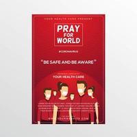 bete für das Welt-Coronavirus-Poster mit Menschenmenge in Masken vektor