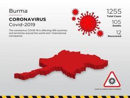 Birma betroffene Landkarte des Coronavirus verbreitet
