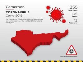 Kamerun påverkad landskarta över coronavirus spridning vektor