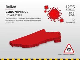 Belize betroffene Landkarte von Coronavirus verbreitet
