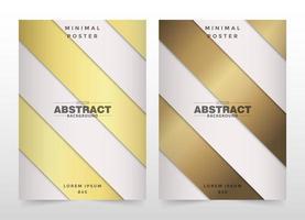 Gold und Beige überlappender diagonaler Streifenabdeckungssatz vektor