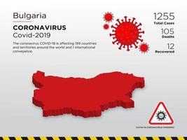 Von Bulgarien betroffene Landkarte der Ausbreitung des Coronavirus