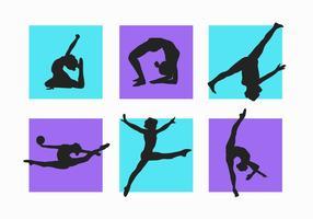 Frauen und Kind Gymnastik Silhouetten Vektor Pack