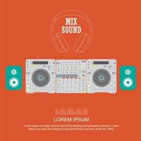 DJ Mixer Poster im farbenfrohen flachen Stil vektor