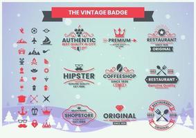 vintage kvalitet badge set i rött och grått
